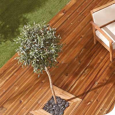 Photo d'ambiance de terrasse en pin